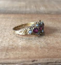 Antique Victorian Garnet Seed Pearl Ring