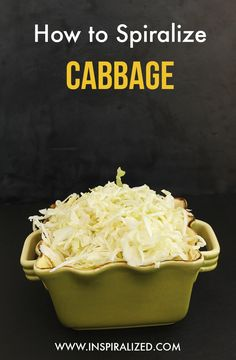 How to Spiralize Cabbage - Can't believe I still need to look this up each time. Bottom toward blade. Blade A.
