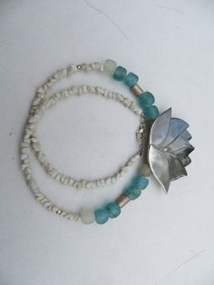 Lotus fine silver African recycled glass bead by madebymirjam