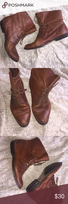 Vintage Brown Leather Booties // can't read tags Fits Size 7 or 7.5 // from vintage store in NYC  // unable to read brand but real leather / really cute could use new laces.     // not free people Free People Shoes Ankle Boots & Booties