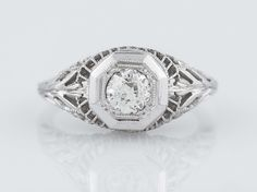 Antique Engagement Ring Art Deco .43ct Old European Cut Diamond in 18k White Gold- Minneapolis, MN www.filigreejewelers.com