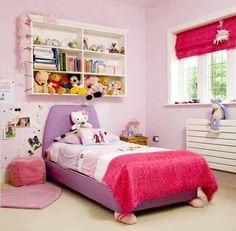 Decoración cuartos de niña en rosa y lila - DecoraHOY