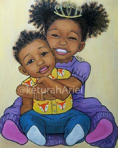 Black Art ~ Denalia & Davarrion {her lil brutha} Black Girl Art, Black Girl Magic, Art Girl, Black Cartoon, Cartoon Art, African American Art, African Art, Arte Black, Black Art Pictures