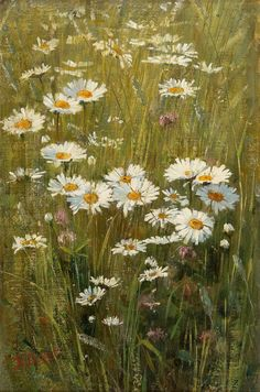 Elin Danielson-Gambogi (1861-1919) - Flowers in the Meadow, oil on canvas, 37 x 24 cm.