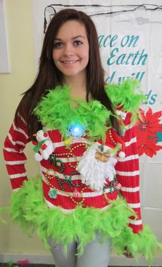 Candy Cane Striped Red White  Green Feather Foo-Foo Glam Fun Women's Light up & Musical Snowman Tacky Ugly Christmas Sweater Sz L -XL