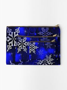 """Royal Blue Snowflake Motif"" Zipper Pouch by HavenDesign 