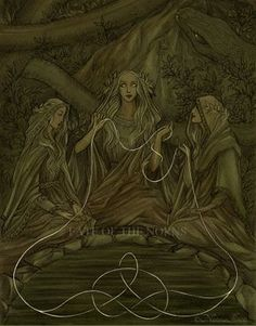 The Norns, rulers of the destiny of gods and menThis piece will appear on the back cover of The Illuminated Edda.Ink, watercolour, ps.  [Facebook • DeviantArt • Blogspot]© Nataša Ilinčić, please do not remove credits