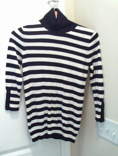 EXPRESS BLACK/WHITE STRIPE TURTLENECK SWEATER 3/4 SLEEVE TOP SIZE M NEW  #Express #Sweater