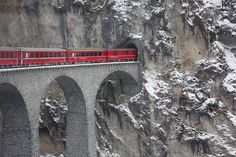 Glacier Express Switzerland  Connecting Swiss ski resorts Zermatt and St. Moritz, the Glacier Express loops around the stunning ice-capped mountains of the Valais and Graubunden.