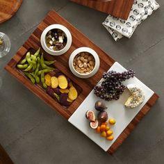 acacia wood entertaining tray set
