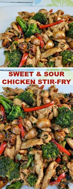 Skillet or wok recipe-Lip smacking Sweet and Sour Chicken Stir-Fry (with crunchy veggies) is a delicious, quick dinner for those busy days - you can have dinner on the table in 30 minutes - start to finish Wok Recipes, Asian Recipes, Chicken Recipes, Cooking Recipes, Healthy Recipes, Sirloin Recipes, Beef Sirloin, Chinese Recipes, Healthy Dishes