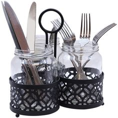 TableCraft Four-Piece Farmouse Mason Jar Cutlery Holder Set ($20) ❤ liked on Polyvore featuring home, kitchen & dining and tablecraft