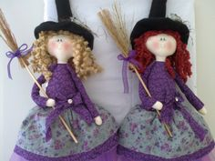 Witch made of cotton with anti allergic filling. Detail bird in hat and broom. Made in Brazil. Holidays Halloween, Halloween Crafts, Halloween Decorations, Blythe Dolls, Sewing Crafts, Doll Clothes, Witch, Diy Projects, Christmas Ornaments