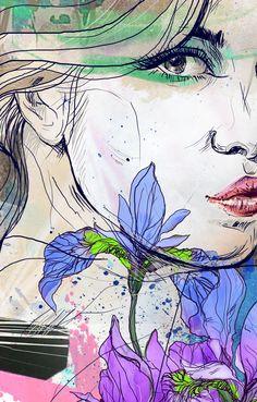 Portrait with irises by Anna Ulyashina - illustrator, via Behance