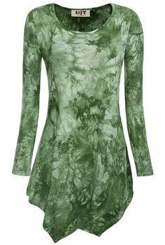 DJT Womens Tie Dyed Hankerchief Hemline Tunic Top Small #17 Green