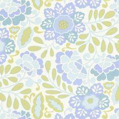 Taza Aqua Floral Fabric by the Yard | Carousel Designs $10.00/yard   Frannie's Kitchen?