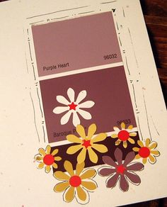 card made with paint chips and flowers punched from junk mail