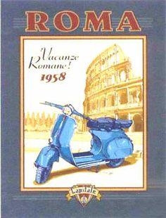 Vacances romaines, Le célèbre film Vacances Romaines 1958, avec Gregory Peck et Audrey Hepburn sur scooter Vespa, Piaggio, Rome, Italie, Europe.