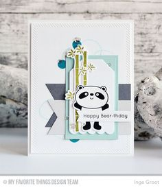 Happy Pandas Stamp Set and Die-namics, Party Patterns Stamp Set, Beary Special Birthday Stamp Set, Inside & Out Diagonal Stitched Rectangle STAX Die-namics, Rectangle STAX Set 1 Die-namics, Fishtail Flags STAX Die-namics, Tag Builder Blueprints 2 Die-namics - Inge Groot  #mftstamps