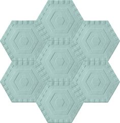 Honeycomb Carpet - Sky Solid (7 piece Hexagon)