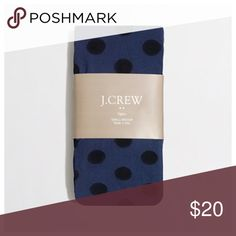 """{j. crew} polka dot tights Brand new in packaging J. Crew factory big dot navy tights with black polka dots.  Size small/medium 5'1"""" - 5'7"""" 95 - 145 lbs  Made in Italy Machine wash cold 97% nylon and 3% spandex J. Crew Accessories Hosiery & Socks"""