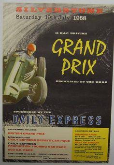 British Grand Prix Vintage 1958 Racing Poster