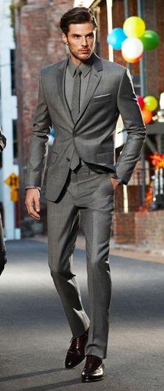 Yes please! Mono-chromatic grey scheme suit Mens Style Blog