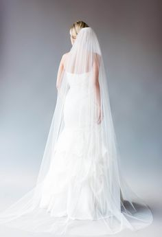 one tier cathedral veil with simple raw cut edge