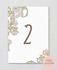Nouveau Peonies -- printable table numbers from Hello Lucky