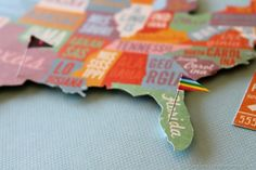 US Map Oh the Places We'll Go  flag pins to show all the places you have visited. Must make! Ha - then get started on the pinning!!