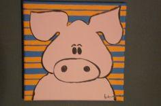 Schilderijtje dier met kader €25,00. Leuk handgemaakt schilderijtje van een varken. #schilderijtje #kinderkamer #Decodomus
