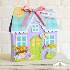 Here's a cute birthday gift box I made using the purple cottage cut file, ( svg , silhouette ) from the Simply Spring collection. Paper Crafts, Diy Crafts, Foam Crafts, Paper Art, Cute Birthday Gift, Brighten Your Day, Corporate Gifts, Cardmaking, Handmade