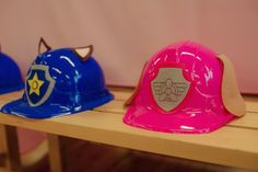 Pink & blue Paw Patrol party hats based on Chase and Skye are adorable, easy to make, and perfect for any PAW Patrol birthday party!