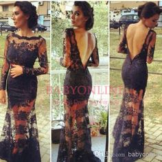 Wholesale Wholesale - Buy 2014 Long Sleeve Formal Evening Dresses Beaded Lace Prom Dresses Sexy Tulle Sheer Backless Black Lace Celebrity Red Carpet Dresses BO3423, $144.19 | DHgate