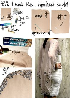 Embellished Capelet // P. - I made this via DIY Projects Sewing Hacks, Sewing Crafts, Sewing Projects, Diy Crafts, Diy Clothing, Sewing Clothes, Diy Vetement, Do It Yourself Fashion, Diy Fashion Accessories