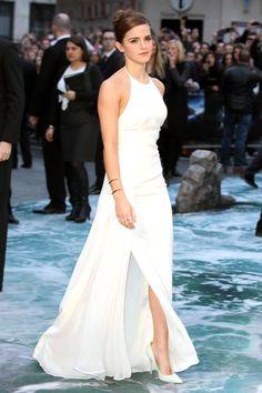 Emma Watson Ralph Lauren White Dress - Emma Watson Noah Press Tour - Harper's BAZAAR Magazine