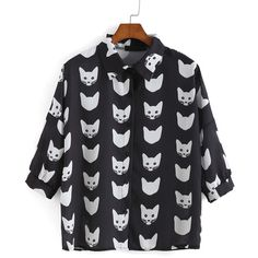 Lapel Cat Print Black Blouse (261.350 VND) ❤ liked on Polyvore