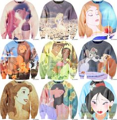 Little Mermaid, Alice in Wonderland, Sleeping Beauty, Lion King, Princess and the Frog, Lady and the Tramp, Beauty and the Beast, Pocahontas, Mulan Sweatshirts