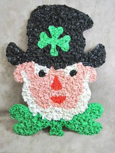 Melted Plastic Popcorn St. Patrick's Day Leprechaun Wall Decoration 15 Inches