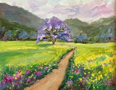 Original impressionist #landscape #painting #purple tree by JBeaudetStudios