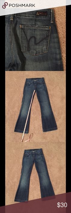 Citizens of Humanity Faye Low Waist Full Leg Jeans Distressed pockets, bronze hardware, orange stitching, signature h blue stitching on back pockets, 5 pockets. 98% cotton, 2% polyurethane. Made in USA. Machine wash cold. Citizens of Humanity Jeans