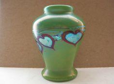 SMALL Rare VALENTINE Green Aurene LUNDBERG Art Glass VASE Blue IRIDESCENT Hearts