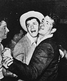 Dean Martin and Jerry Lewis dancing together, mid 1950′s.
