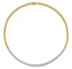 Gem Platinum // Part Way Riviera Style Diamond Necklace
