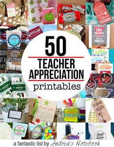 50 FREE teacher appreciation printables  http://andreasnotebook.com/teacher-appreciation-gift-printables/