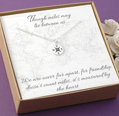 Compass Necklace - Friendship Jewelry, BFF, Best Friends, Long Distance - Sterling Silver or Gold Compass Charm