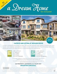 New Homes for Sale in San Marcos, California  3% Broker Co-Op At Mission Grove  Bring your clients to see these breathtaking North County San Diego homes. The community will have tot lots and a pool for residents to enjoy.  http://www.drhorton.com/California/San-Diego/San-Marcos/Setina-and-Caprice.aspx