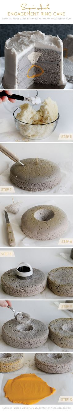 Learn  to make this Engagement Ring Suprise-Inside Cake | by Amanda Rettke, author of Suprise-Inside Cakes | on TheCakeBlog.com