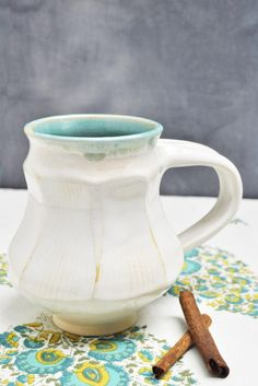 Lee Wolfe Pottery — White Faceted Mug in Snow Shadows