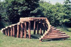 Log climbing frame, shelter, tunnel and platform.